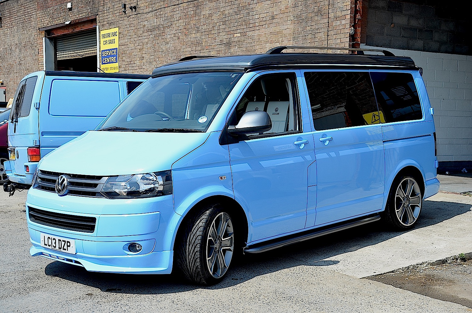 Pale Blue Rad Volkswagen T5 Welsh Coast Campers